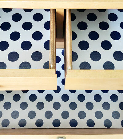 DIY Drawer Liners using wrapping paper