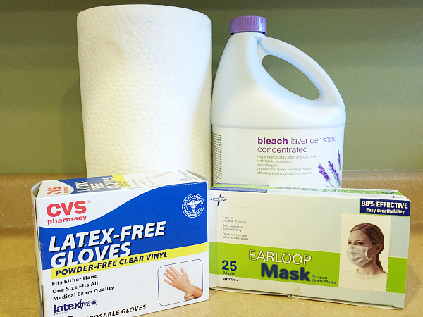 Items needed for Cleaning and Disinfecting after the stomach flu