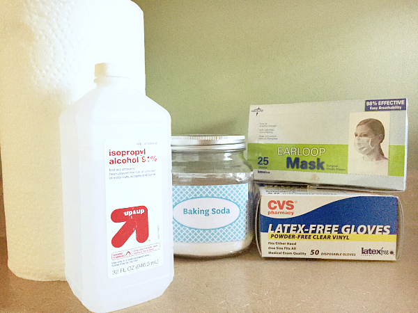 Items needed to clean vomit from couch