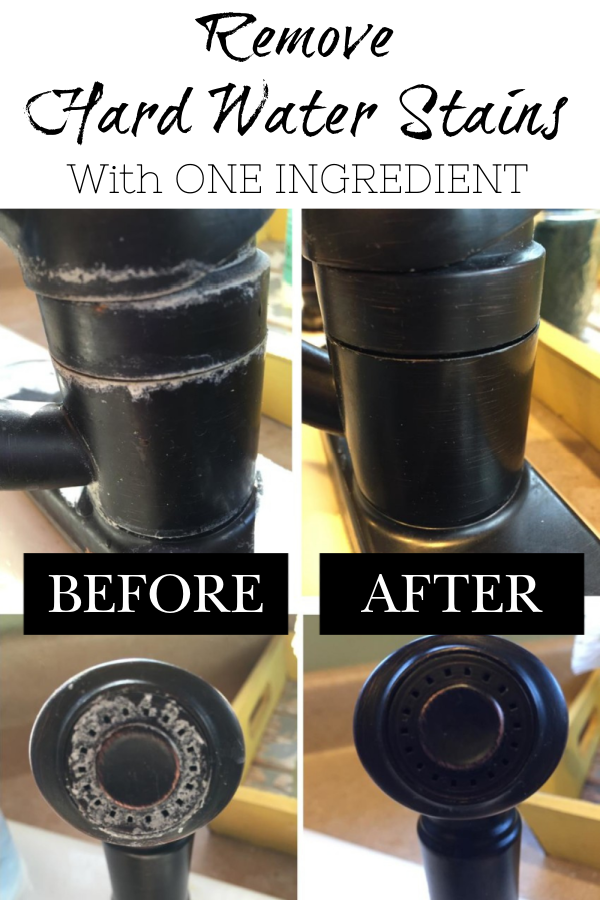 Pinterest Image: Before and After images of removing hard water stains and mineral deposits on a kitchen faucet and sprayer. Remove hard water stains with one pantry ingredient. It is SO easy to do and the results are incredible!