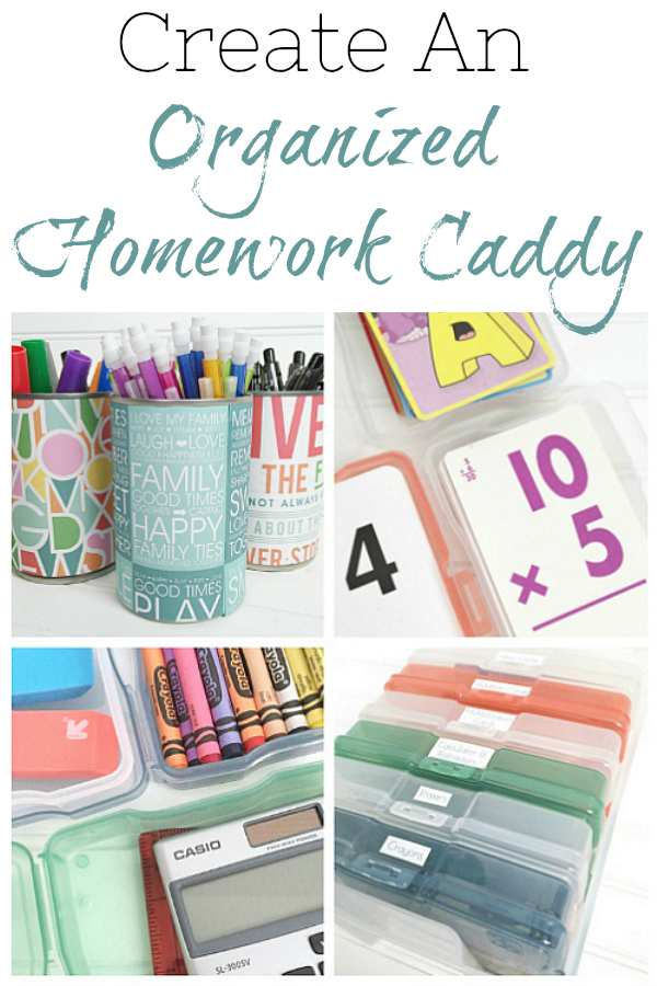 Creating an organized homework caddy to help with homework time at home.
