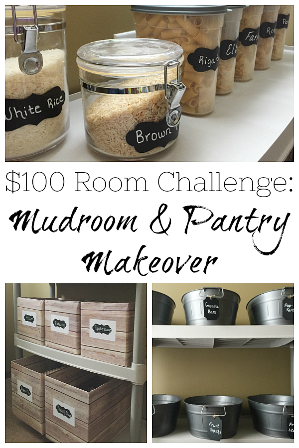 This mudroom (also used as a pantry) got a $100 makeover with budget-friendly storage ideas and a new bench cushion.