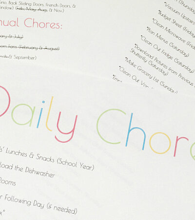 Daily Weekly and Quarterly Chore Lists