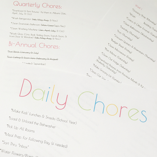 Weekly, Monthly, and Quarterly Chore Lists