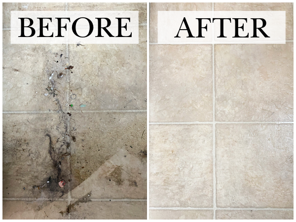 Before and After of Linoleum floor after using DIY Floor Cleaner