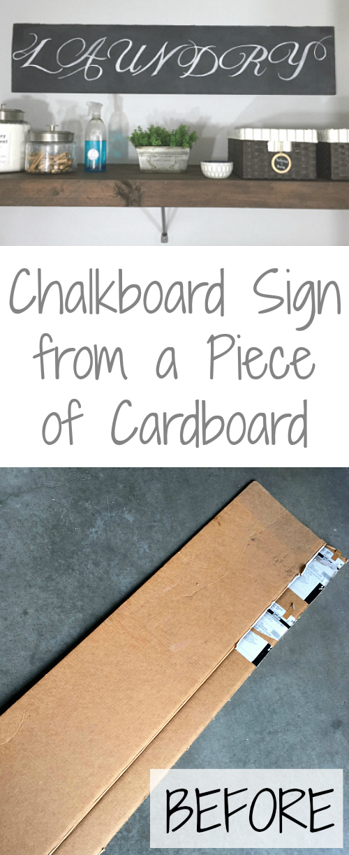 I cannot believe this chalkboard sign started out as a piece of cardboard! What an awesome idea!