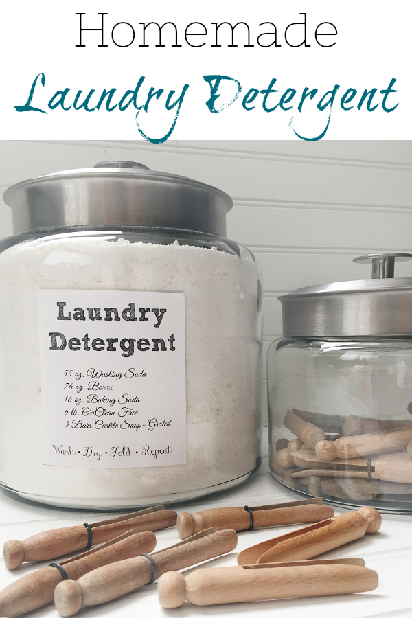 This recipe for homemade laundry detergent is easy to make, and does an awesome job getting clothes clean. AND it makes a TON of laundry detergent. Lasts approximately a year for my family of 5.