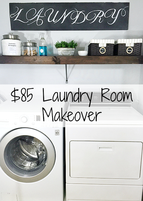 I cannot believe how much was done in this laundry room for only $85: appliance painting, faux wood shelving, etc. #laundryroom #laundryroominspiration #laundryroomideas #onabudget #roommakeover #onabudget