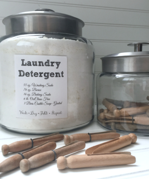 Jars for Laundry Detergent and Ole Clothespins