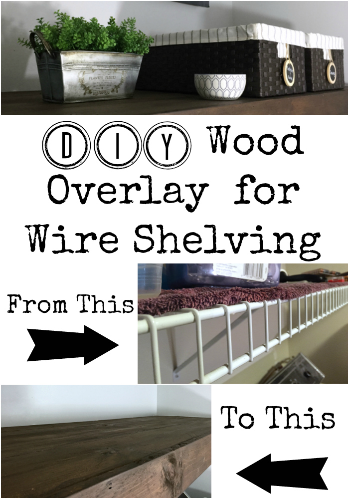 I absolutely love this idea for creating a wood overlay to cover wire shelving. Such a cheap option and it looks amazing! #coverwireshelf