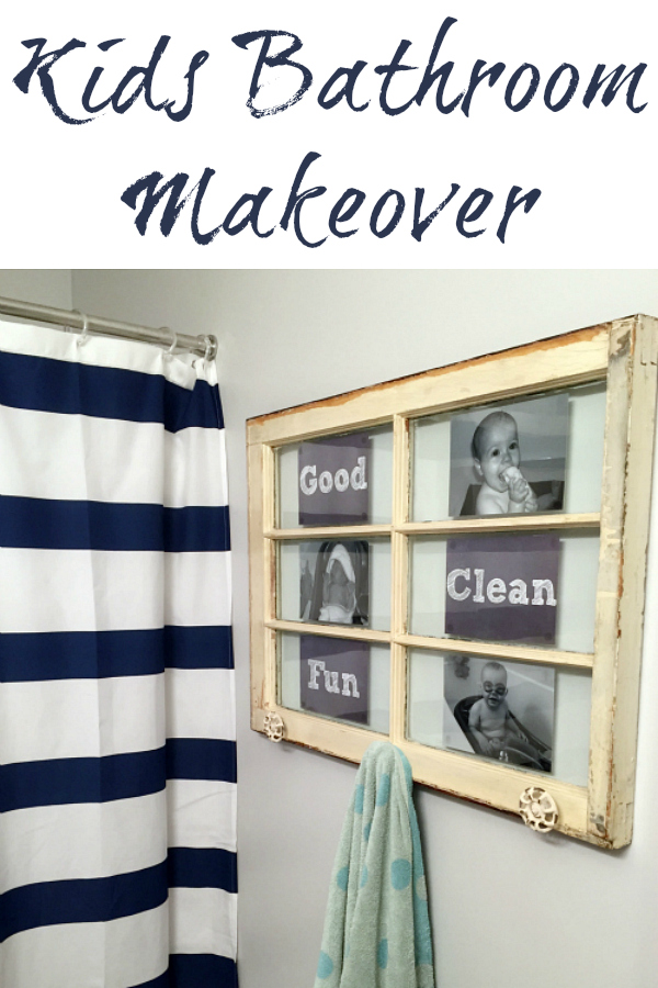 This kids' bathroom makeover was done for less than $100 and includes a unique towel rack (made from an old window) and mason jar toothbrush holder.