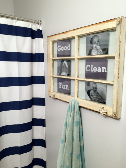 Such a cute kids bathroom, and I love that it was done on a tight budget!