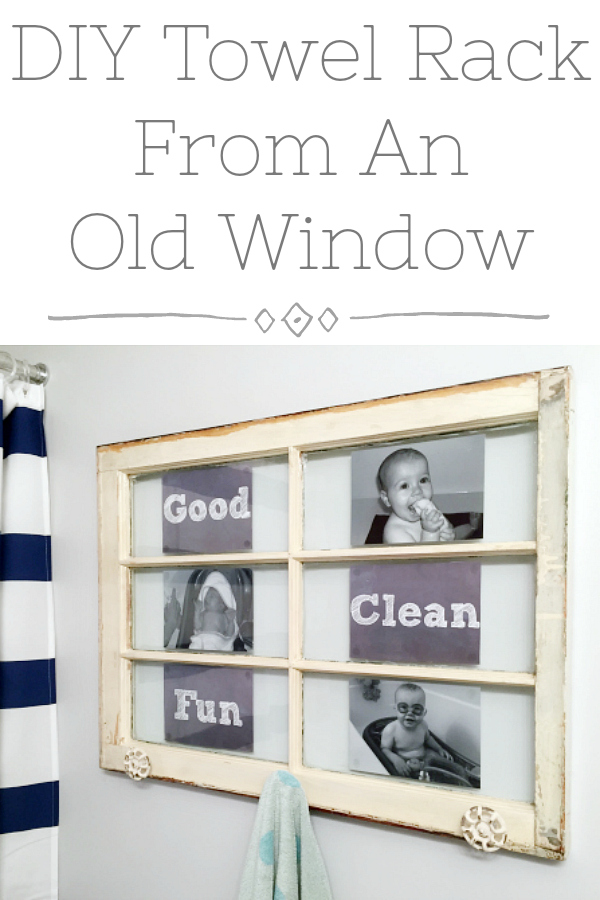 An old window becomes a cute towel rack for this kids' bathroom makeover. Love that the post also discusses how to test for lead based paint.