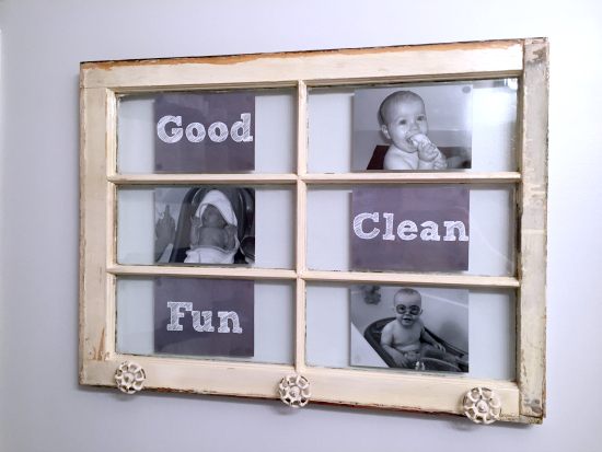 An old wood window becomes a towel rack for the kids' bathroom!