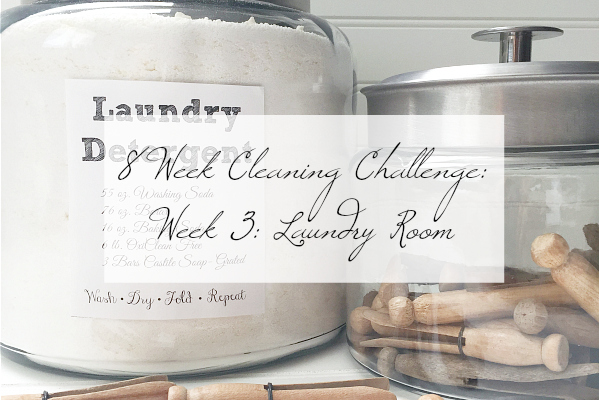 Laundry Detergent and Vintage Clothespins in glass jars