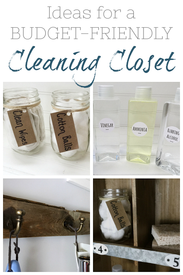 Great ideas for creating a budget-friendly cleaning closet.