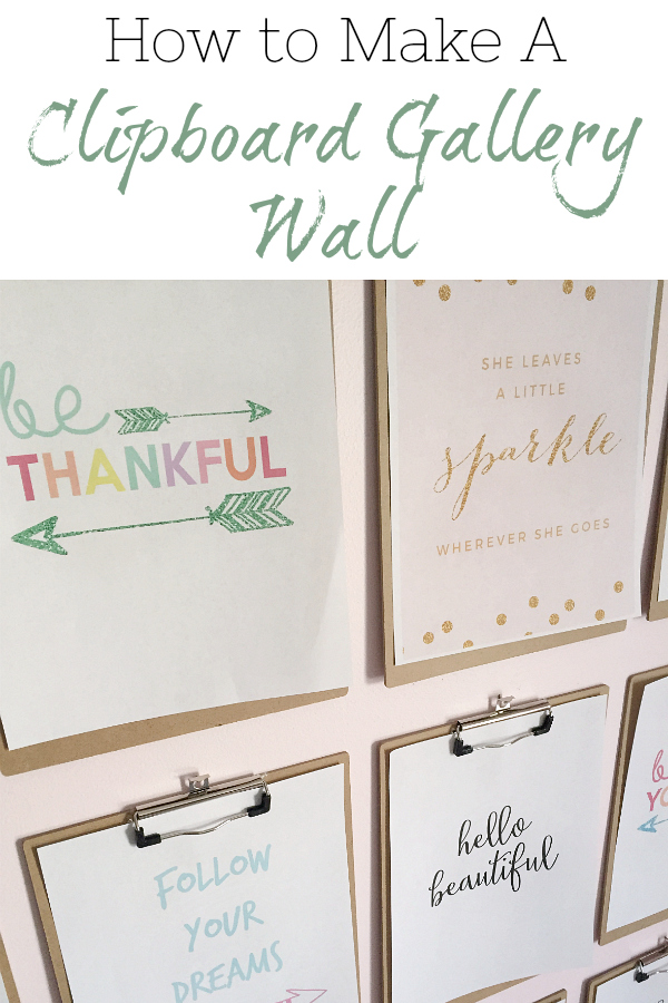 This easy clipboard gallery wall was made with clipboards from the dollar store, so in total, the entire gallery cost $12!