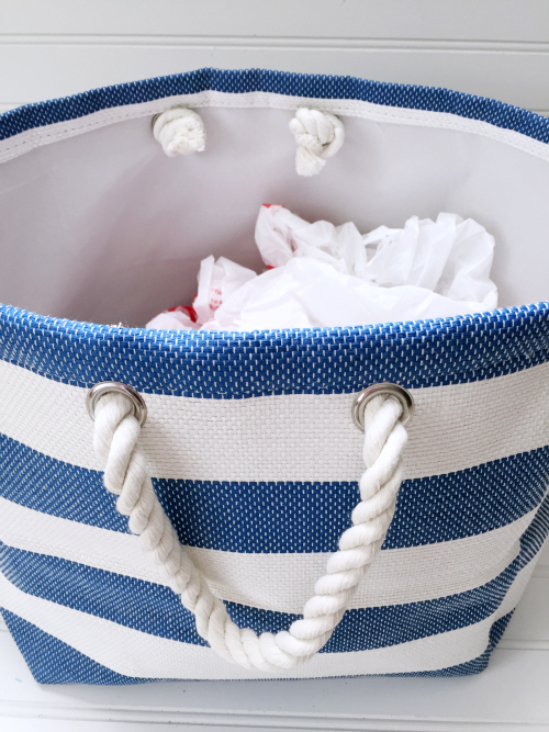 Creating Closet Storage: A Dollar Section Bag to hold items that need to be returned
