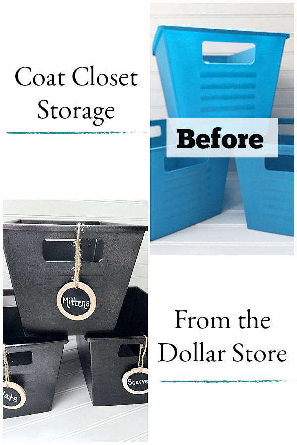 Dollar Store Bin Makeover to create affordable coat closet storage.