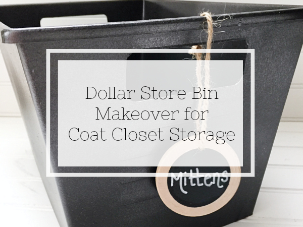 Dollar Store bins get a major makeover to create cohesive storage in a coat closet.