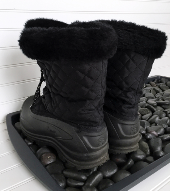 Upgrade a plastic boot tray with river rocks. So simple.