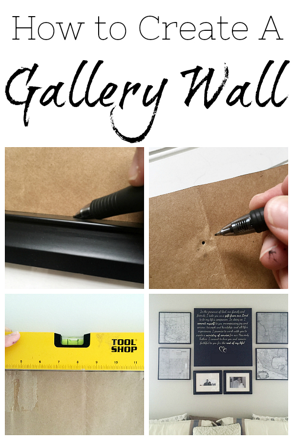 This gallery wall was made with vintage maps and the tutorial shares how to properly hang a gallery wall so everything ends up evenly spaced.