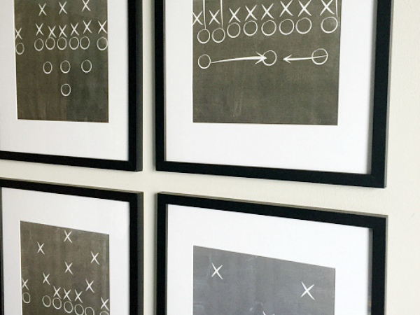 Football play printables used in a gallery wall.