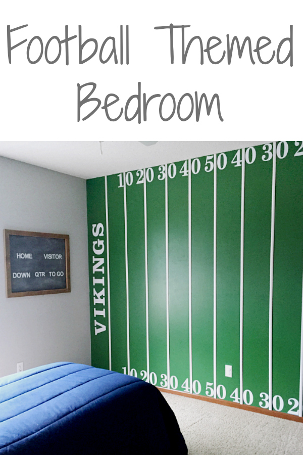 This boy's football themed bedroom is unbelievable! I love the football field wall and the locker closet. So many great ideas!