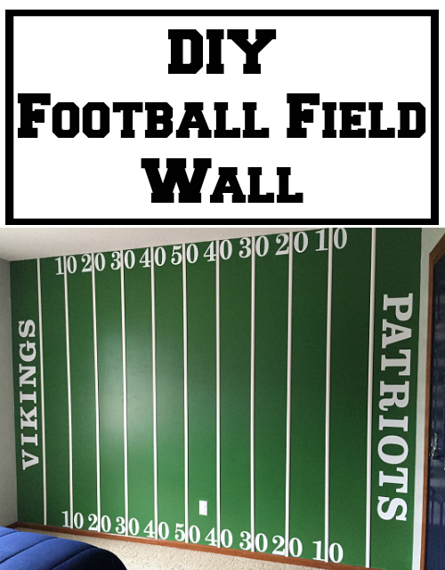How fun is this DIY Football Field Wall? Step-by-step tutorial on how to make it, including fonts and sizes.