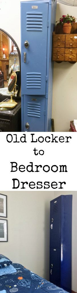 A thrifted locker turns into a boy's dresser for his football themed bedroom. Such an awesome idea!