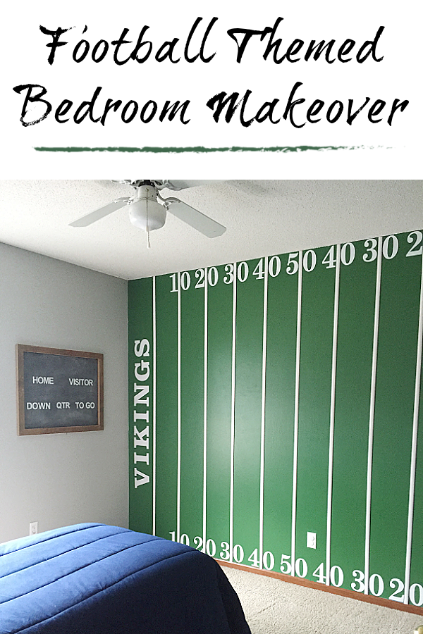 This football bedroom has so many amazing ideas including a football field wall, a locker dresser, a locker bay closet, and more. Great ideas for a football loving child or man-cave.