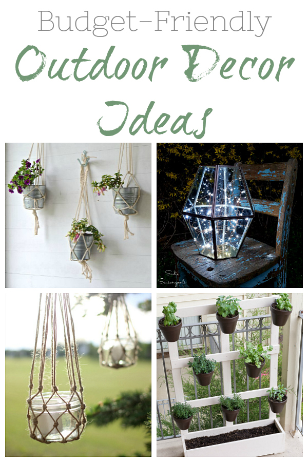 So many budget friendly ideas for sprucing up your outdoor spaces; including lots of ideas for planters and lighting.