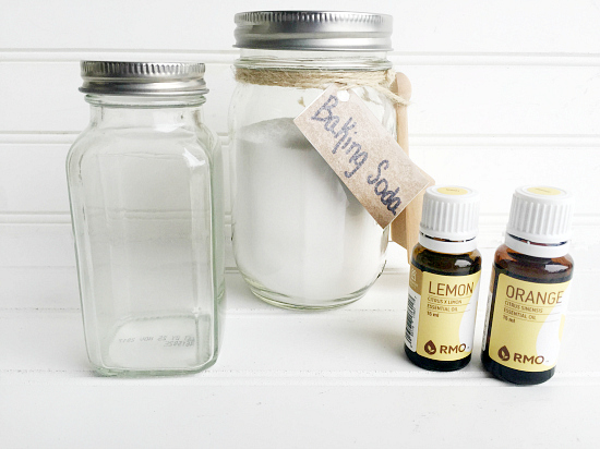 What you need to make DIY Refrigerator Deodorizer: Baking soda, spice jar, and essential oils