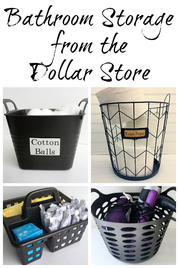 Bathroom Storage Ideas from the Dollar Store. Turn bright colored plastic bins into Industrial bathroom storage with just a little spray paint.