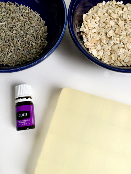 Ingredients to make DIY Hand Soap: Soap Base, Oats, Dried Lavender, & Essential Oil