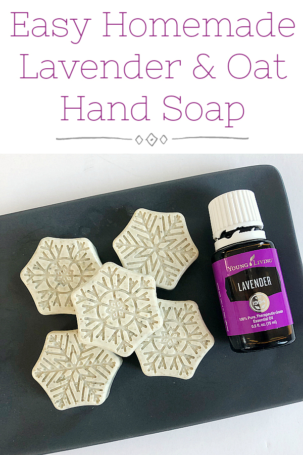 Easy Lavender and Oat Hand Soap using real lavender and oatmeal, along with an oatmeal soap base.