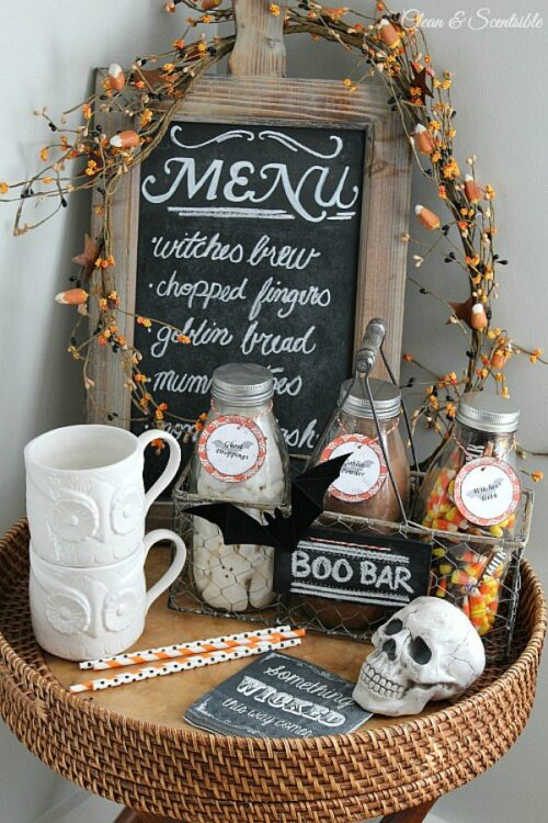 Coffee Station decorated for Halloween from Clean and Scentsible.