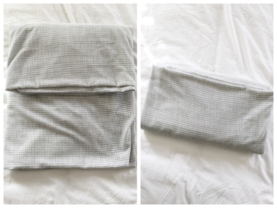 Easy to follow instructions for folding a fitted sheet.