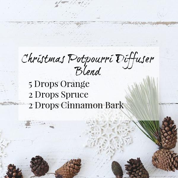 Christmas Potpourri diffuser blend using orange, spruce, and cinnamon essential oils
