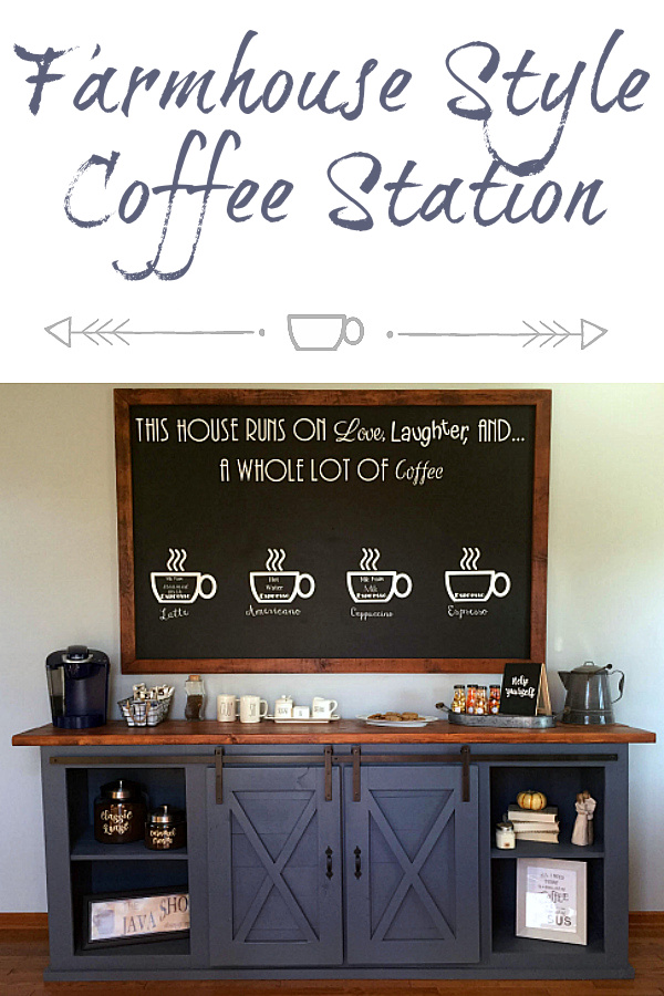 This farmhouse coffee station has it all with a barn doors on the DIY cabinet, a large framed chalkboard, and more.