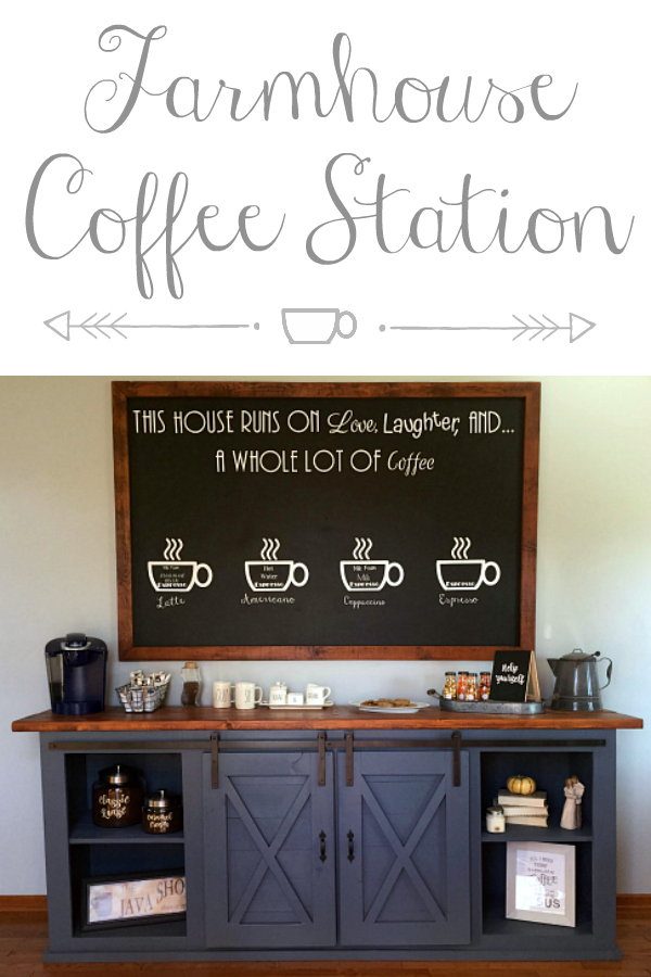 This farmhouse style coffee station is absolutely incredible! Love the big chalkboard and the barn doors on the buffet. #coffeestation #farmhousecoffeestation #farmhouse #farmhousestyle