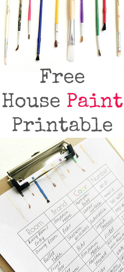 Wish I'd had this Home Paint Printable when we moved into our house. So handy!