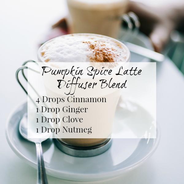 Pumpkin Spice Latte Diffuser Blend combining cinnamon, ginger, clove, and nutmeg