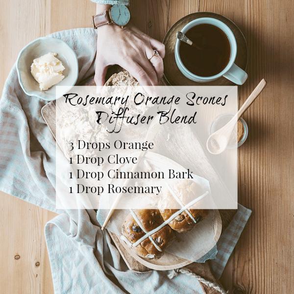 Rosemary Orange Scones Diffuser Blend with orange, cinnamon, clove, and rosemary.