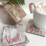 Easy DIY white washed wooden coasters