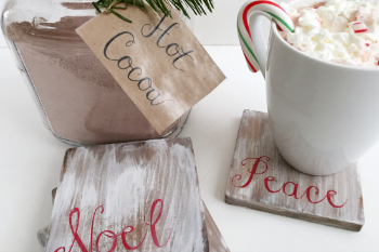 Hot Cocoa Bar with DIY Rustic Wood Coasters