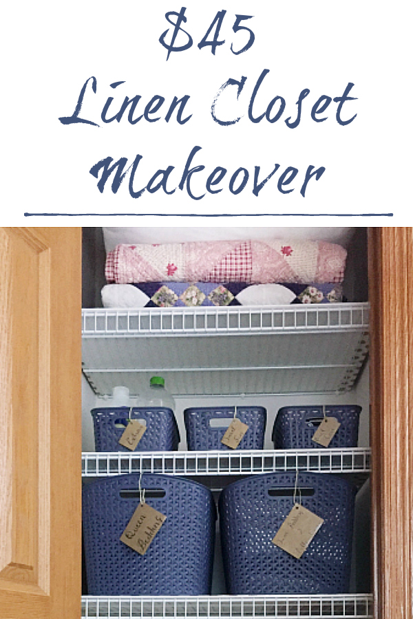 This $45 linen closet makeover includes covering wire shelving and amazing storage ideas.