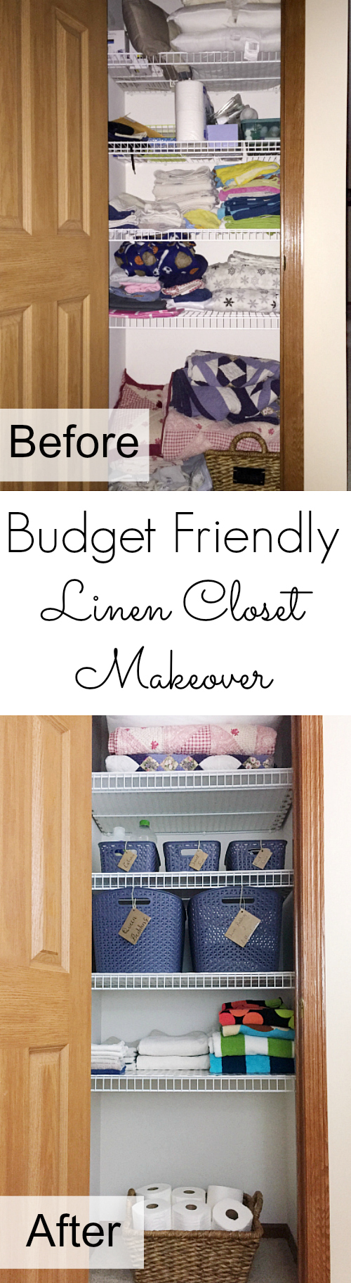 Love that this linen closet makeover was done for less than $50! Great ideas.