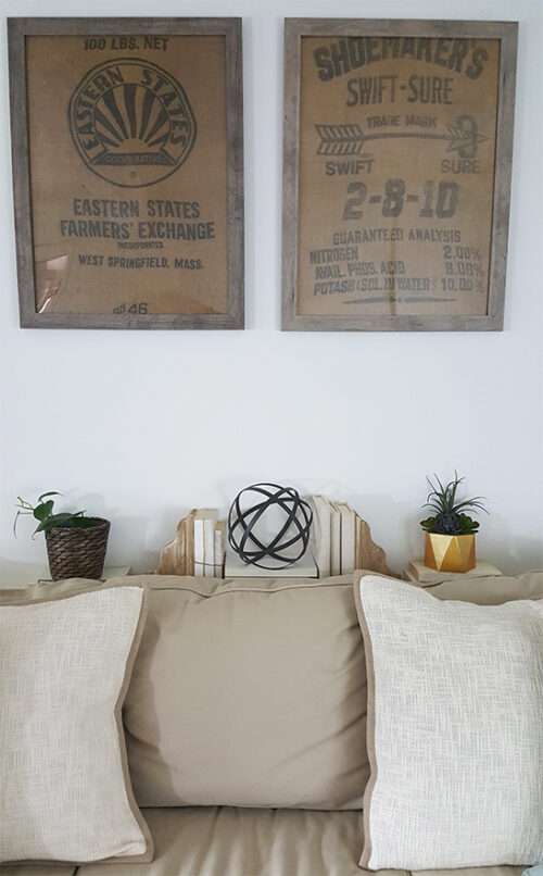 Wall decor using framed burlap sacks via The Honeycomb Home