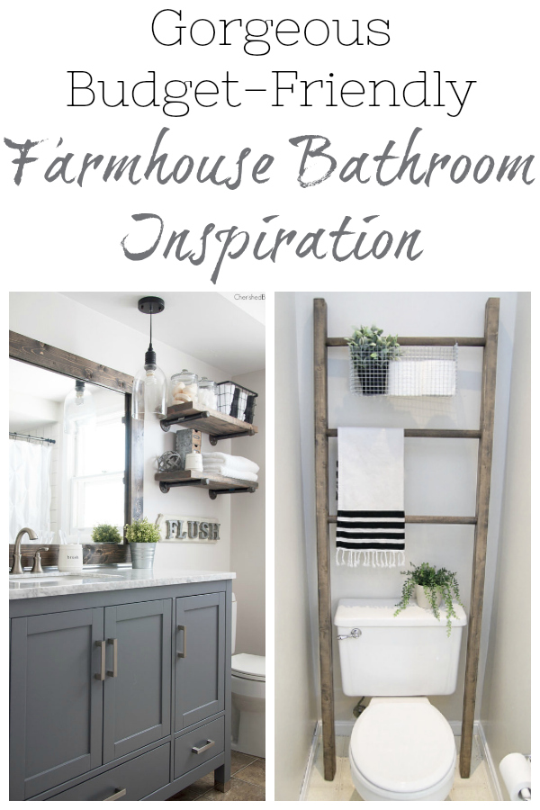 Budget-Friendly Farmhouse style master bathroom inspiration.